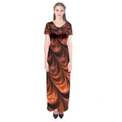 Brown Fractal Mathematics Frax Short Sleeve Maxi Dress