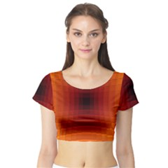Orange Background Wallpaper Texture Lines Short Sleeve Crop Top (tight Fit)