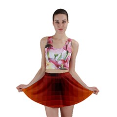 Orange Background Wallpaper Texture Lines Mini Skirt