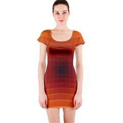 Orange Background Wallpaper Texture Lines Short Sleeve Bodycon Dress