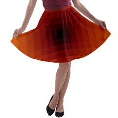 Orange Background Wallpaper Texture Lines A Line Skater Skirt