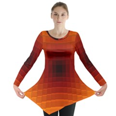 Orange Background Wallpaper Texture Lines Long Sleeve Tunic