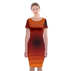 Orange Background Wallpaper Texture Lines Classic Short Sleeve Midi Dress