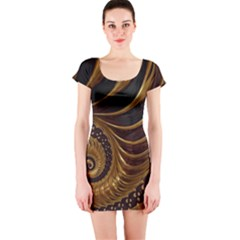 Fractal Spiral Endless Mathematics Short Sleeve Bodycon Dress