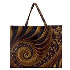 Fractal Spiral Endless Mathematics Zipper Large Tote Bag