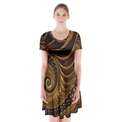 Fractal Spiral Endless Mathematics Short Sleeve V Neck Flare Dress