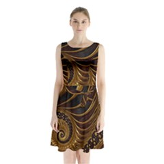 Fractal Spiral Endless Mathematics Sleeveless Chiffon Waist Tie Dress