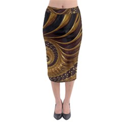 Fractal Spiral Endless Mathematics Midi Pencil Skirt