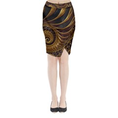 Fractal Spiral Endless Mathematics Midi Wrap Pencil Skirt