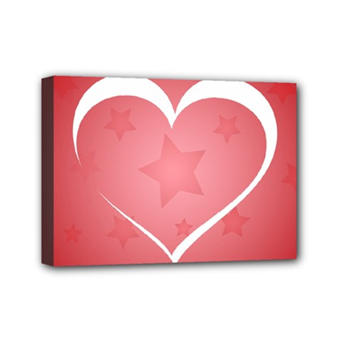 Postcard Banner Heart Holiday Love Mini Canvas 7  X 5