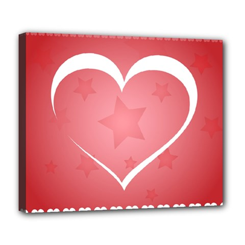 Postcard Banner Heart Holiday Love Deluxe Canvas 24  X 20