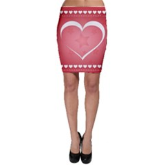Postcard Banner Heart Holiday Love Bodycon Skirt