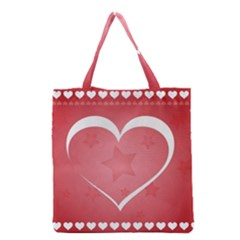 Postcard Banner Heart Holiday Love Grocery Tote Bag