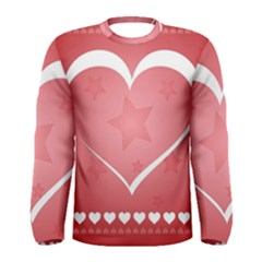 Postcard Banner Heart Holiday Love Men s Long Sleeve Tee
