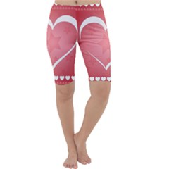 Postcard Banner Heart Holiday Love Cropped Leggings