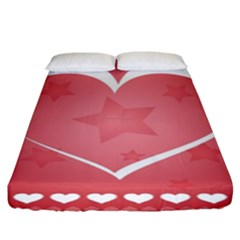 Postcard Banner Heart Holiday Love Fitted Sheet (king Size)