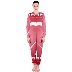 Postcard Banner Heart Holiday Love Onepiece Jumpsuit (ladies)
