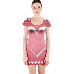 Postcard Banner Heart Holiday Love Short Sleeve Bodycon Dress