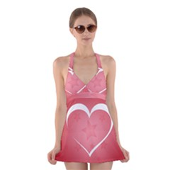 Postcard Banner Heart Holiday Love Halter Swimsuit Dress