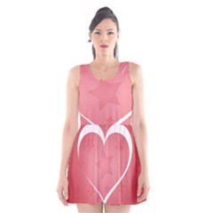 Postcard Banner Heart Holiday Love Scoop Neck Skater Dress