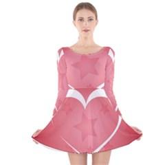 Postcard Banner Heart Holiday Love Long Sleeve Velvet Skater Dress