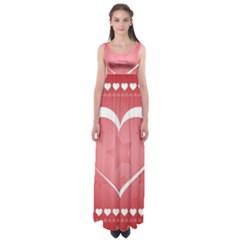 Postcard Banner Heart Holiday Love Empire Waist Maxi Dress
