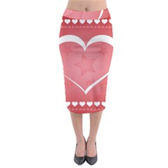 Postcard Banner Heart Holiday Love Midi Pencil Skirt