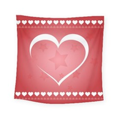 Postcard Banner Heart Holiday Love Square Tapestry (small)