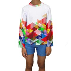 Graphics Cover Gradient Elements Kids  Long Sleeve Swimwear