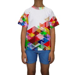 Graphics Cover Gradient Elements Kids  Short Sleeve Swimwear