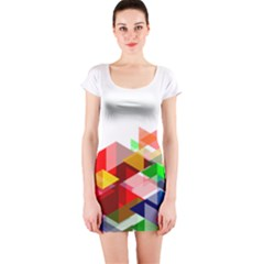 Graphics Cover Gradient Elements Short Sleeve Bodycon Dress