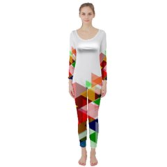 Graphics Cover Gradient Elements Long Sleeve Catsuit