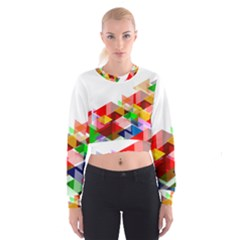 Graphics Cover Gradient Elements Women s Cropped Sweatshirt