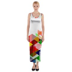 Graphics Cover Gradient Elements Fitted Maxi Dress