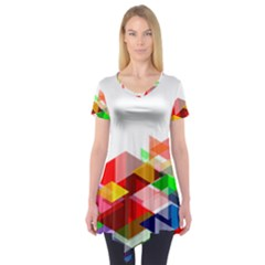Graphics Cover Gradient Elements Short Sleeve Tunic