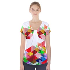 Graphics Cover Gradient Elements Short Sleeve Front Detail Top