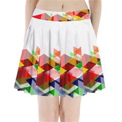 Graphics Cover Gradient Elements Pleated Mini Skirt