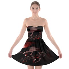 Fractal Mathematic Sabstract Strapless Bra Top Dress