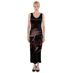 Fractal Mathematic Sabstract Fitted Maxi Dress