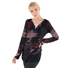 Fractal Mathematic Sabstract Women s Tie Up Tee