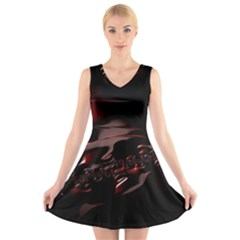 Fractal Mathematic Sabstract V Neck Sleeveless Skater Dress