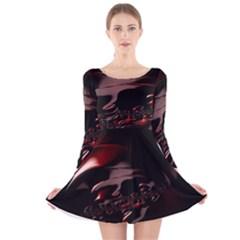 Fractal Mathematic Sabstract Long Sleeve Velvet Skater Dress