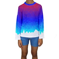 Gradient Red Blue Landfill Kids  Long Sleeve Swimwear
