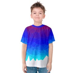 Gradient Red Blue Landfill Kids  Cotton Tee