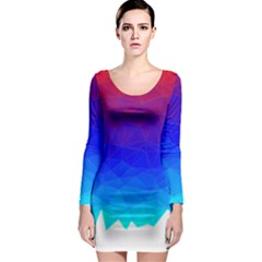 Gradient Red Blue Landfill Long Sleeve Bodycon Dress