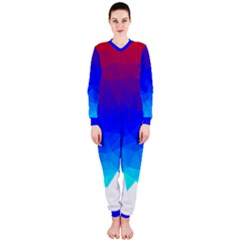 Gradient Red Blue Landfill Onepiece Jumpsuit (ladies)