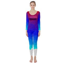 Gradient Red Blue Landfill Long Sleeve Catsuit