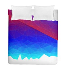 Gradient Red Blue Landfill Duvet Cover Double Side (full/ Double Size)