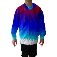 Gradient Red Blue Landfill Hooded Wind Breaker (kids)