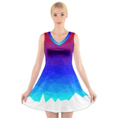 Gradient Red Blue Landfill V Neck Sleeveless Skater Dress